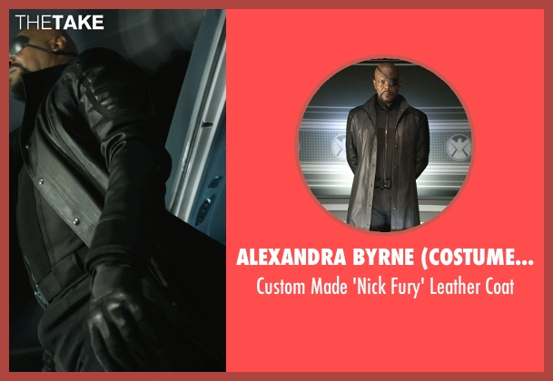 Alexandra Byrne (Costume Designer) black coat from Marvel's The Avengers seen with Samuel L. Jackson (Nick Fury)