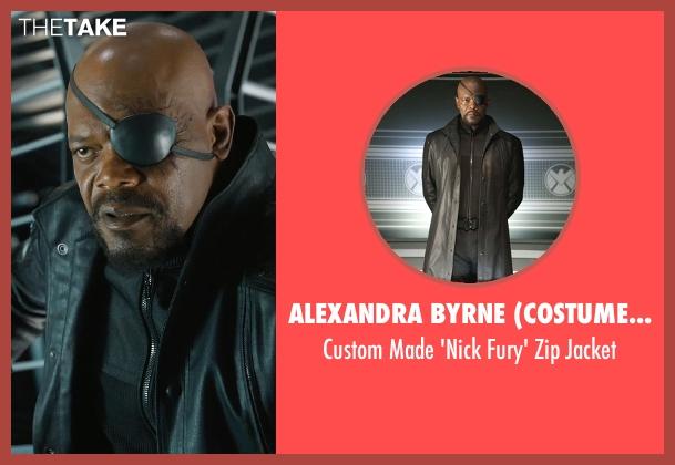 Alexandra Byrne (Costume Designer) black jacket from Marvel's The Avengers seen with Samuel L. Jackson (Nick Fury)