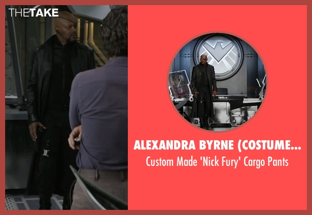 Alexandra Byrne (Costume Designer) black pants from Marvel's The Avengers seen with Samuel L. Jackson (Nick Fury)