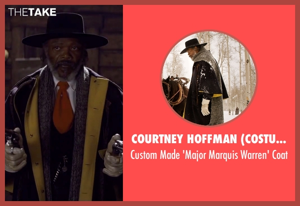Courtney Hoffman (Costume Designer) black coat from The Hateful Eight seen with Samuel L. Jackson (Major Marquis Warren)