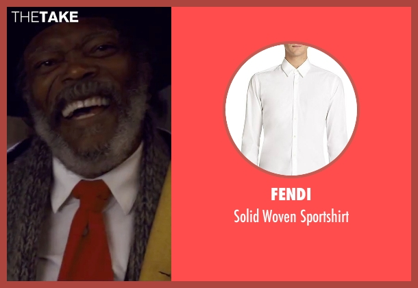 Fendi white sportshirt from The Hateful Eight seen with Samuel L. Jackson (Major Marquis Warren)