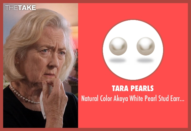 Tara Pearls white earrings from A Walk in the Woods seen with Sandra Ellis Lafferty (Widow Deborah)