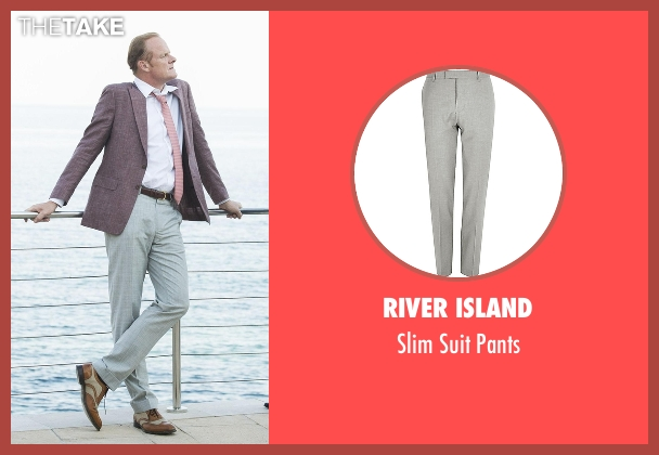 River Island gray pants from The Night Manager seen with Sandy Langbourne (Alistair Petrie)