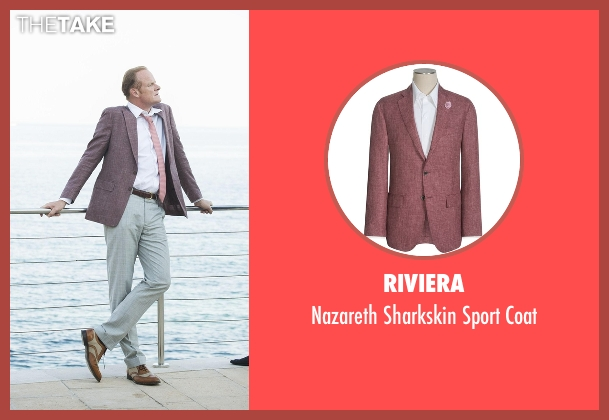 Riviera red coat from The Night Manager seen with Sandy Langbourne (Alistair Petrie)