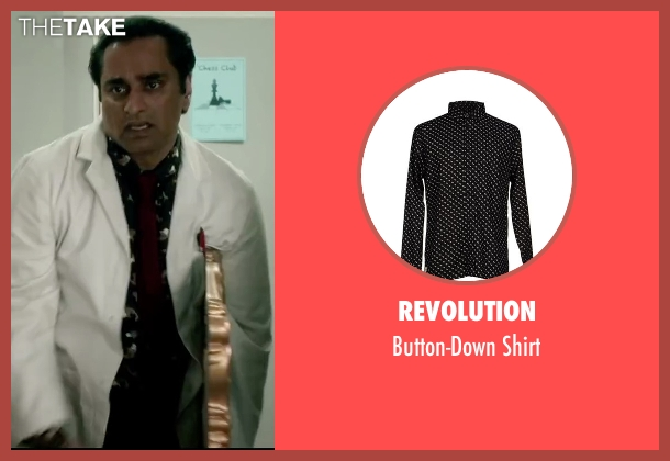 Revolution black shirt from Absolutely Anything seen with Sanjeev Bhaskar (Ray)