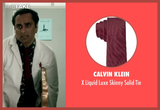 Calvin Klein red tie from Absolutely Anything seen with Sanjeev Bhaskar (Ray)