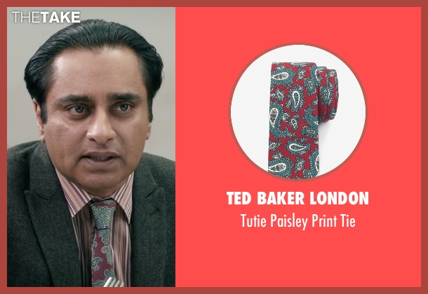 Ted Baker London red tie from Absolutely Anything seen with Sanjeev Bhaskar (Ray)