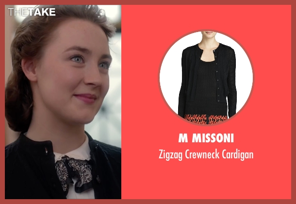 M Missoni black cardigan from Brooklyn seen with Saoirse Ronan (Eilis)