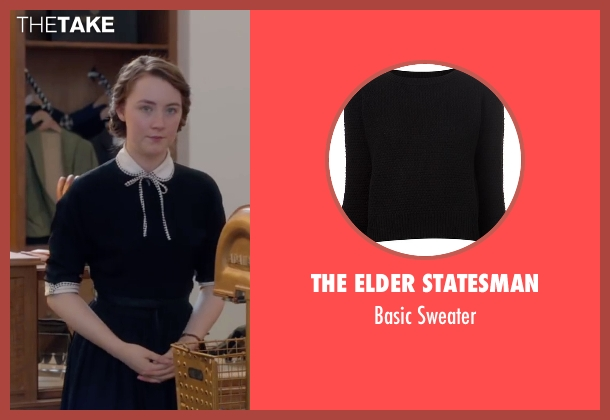 The Elder Statesman black sweater from Brooklyn seen with Saoirse Ronan (Eilis)