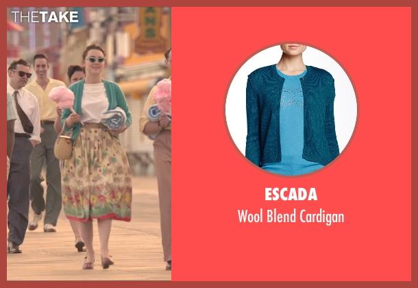 Escada green cardigan from Brooklyn seen with Saoirse Ronan (Eilis)