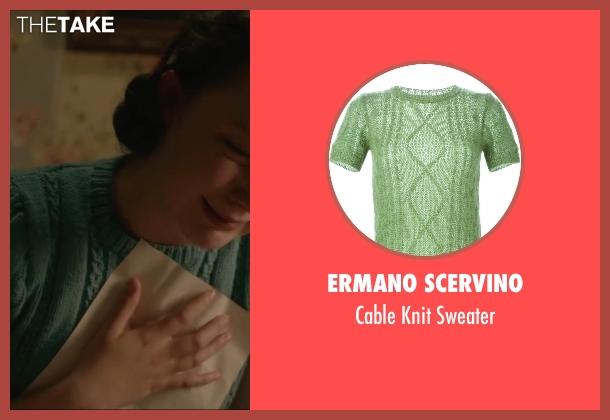 Ermano Scervino green sweater from Brooklyn seen with Saoirse Ronan (Eilis)