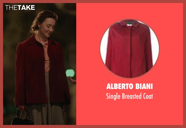 Alberto Biani red coat from Brooklyn seen with Saoirse Ronan (Eilis)