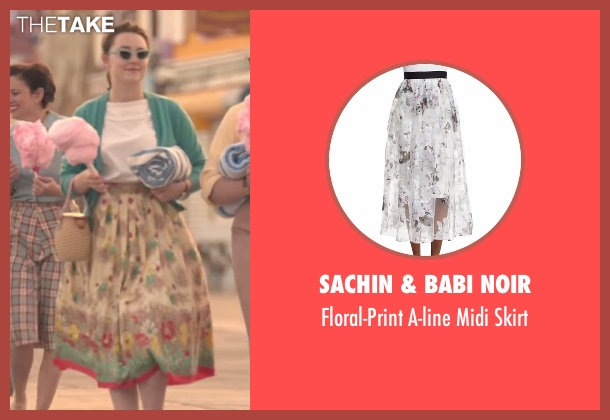 Monique Lhuillier skirt from Brooklyn seen with Saoirse Ronan (Eilis)
