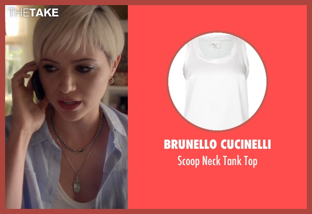 Brunello Cucinelli white top from Pretty Little Liars seen with Sara Harvey (Dre Davis)