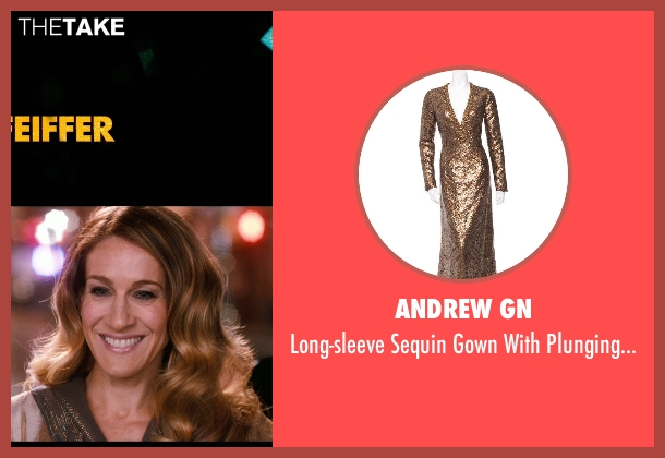 Andrew Gn brown v-neck from New Year's Eve seen with Sarah Jessica Parker (Kim)