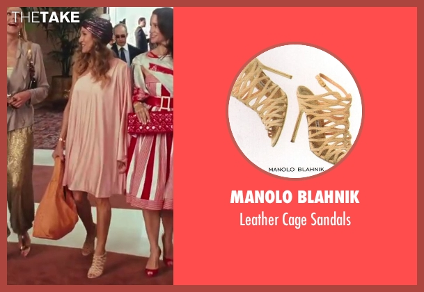 Manolo Blahnik beige sandals from Sex and the City 2 seen with Sarah Jessica Parker (Carrie Bradshaw)