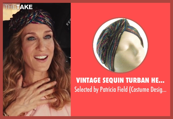 Vintage Sequin Turban Headband black field from Sex and the City 2 seen with Sarah Jessica Parker (Carrie Bradshaw)