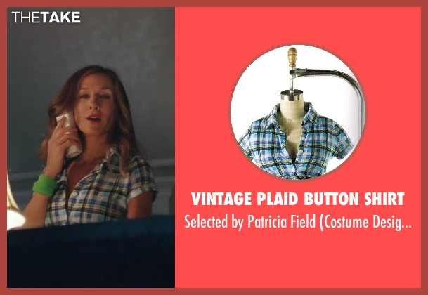 Vintage Plaid Button Shirt blue field from Sex and the City 2 seen with Sarah Jessica Parker (Carrie Bradshaw)