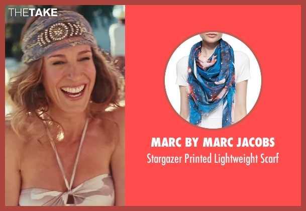 Marc By Marc Jacobs blue scarf from Sex and the City 2 seen with Sarah Jessica Parker (Carrie Bradshaw)