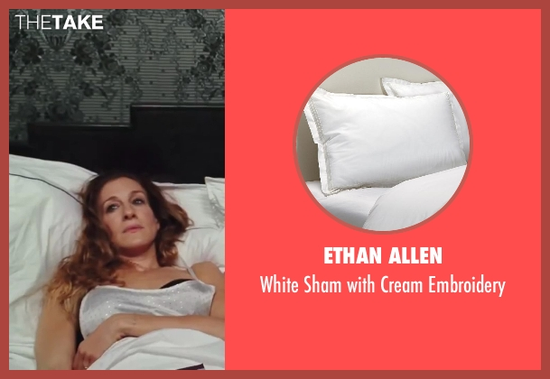 Ethan Allen embroidery from Sex and the City 2 seen with Sarah Jessica Parker (Carrie Bradshaw)