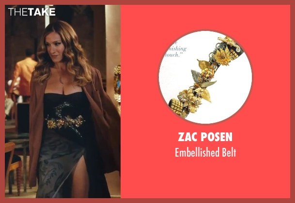 Zac Posen gold belt from Sex and the City 2 seen with Sarah Jessica Parker (Carrie Bradshaw)