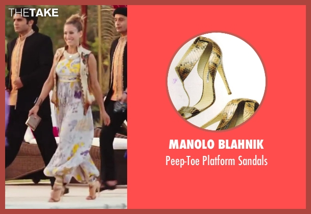 Manolo Blahnik gold sandals from Sex and the City 2 seen with Sarah Jessica Parker (Carrie Bradshaw)