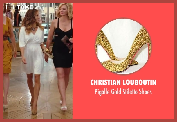 Christian Louboutin gold shoes from Sex and the City 2 seen with Sarah Jessica Parker (Carrie Bradshaw)