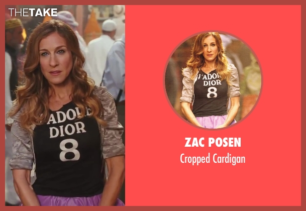Zac Posen gray cardigan from Sex and the City 2 seen with Sarah Jessica Parker (Carrie Bradshaw)