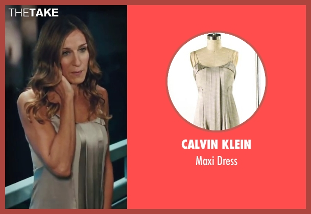 Calvin Klein gray dress from Sex and the City 2 seen with Sarah Jessica Parker (Carrie Bradshaw)