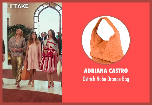 Adriana Castro orange bag from Sex and the City 2 seen with Sarah Jessica Parker (Carrie Bradshaw)