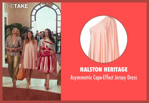 Halston Heritage pink dress from Sex and the City 2 seen with Sarah Jessica Parker (Carrie Bradshaw)