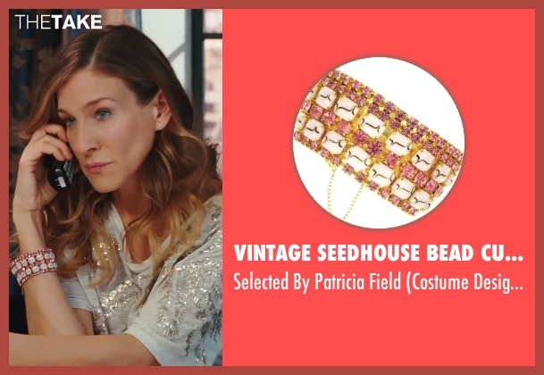 Vintage Seedhouse Bead Cuff Bracelet pink field from Sex and the City 2 seen with Sarah Jessica Parker (Carrie Bradshaw)