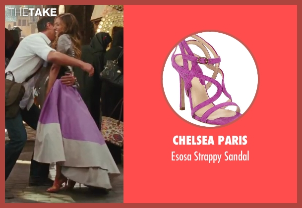 Chelsea Paris purple sandal from Sex and the City 2 seen with Sarah Jessica Parker (Carrie Bradshaw)