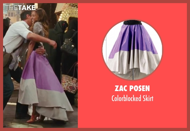 Zac Posen purple skirt from Sex and the City 2 seen with Sarah Jessica Parker (Carrie Bradshaw)