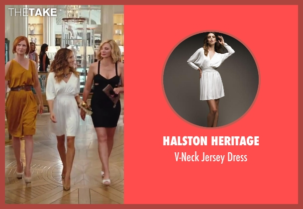 Halston Heritage white dress from Sex and the City 2 seen with Sarah Jessica Parker (Carrie Bradshaw)
