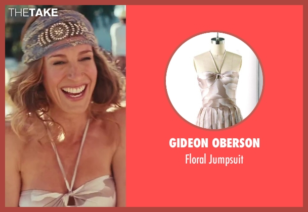 Gideon Oberson white jumpsuit from Sex and the City 2 seen with Sarah Jessica Parker (Carrie Bradshaw)