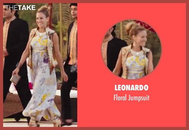 Leonardo white jumpsuit from Sex and the City 2 seen with Sarah Jessica Parker (Carrie Bradshaw)