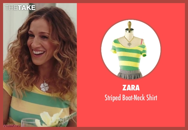 Zara yellow shirt from Sex and the City 2 seen with Sarah Jessica Parker (Carrie Bradshaw)