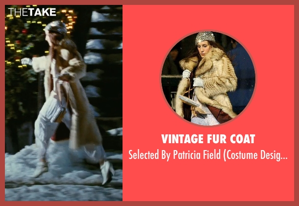 Vintage Fur Coat beige field from Sex and the City seen with Sarah Jessica Parker (Carrie Bradshaw)