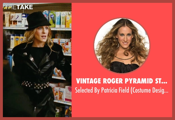 Vintage Roger Pyramid Studded Belt black field from Sex and the City seen with Sarah Jessica Parker (Carrie Bradshaw)