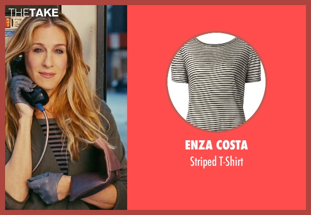 Enza Costa black t-shirt from Sex and the City seen with Sarah Jessica Parker (Carrie Bradshaw)