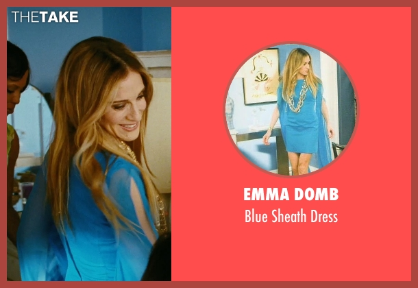 Emma Domb blue dress from Sex and the City seen with Sarah Jessica Parker (Carrie Bradshaw)