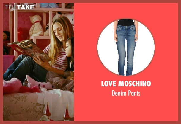 Love Moschino blue pants from Sex and the City seen with Sarah Jessica Parker (Carrie Bradshaw)