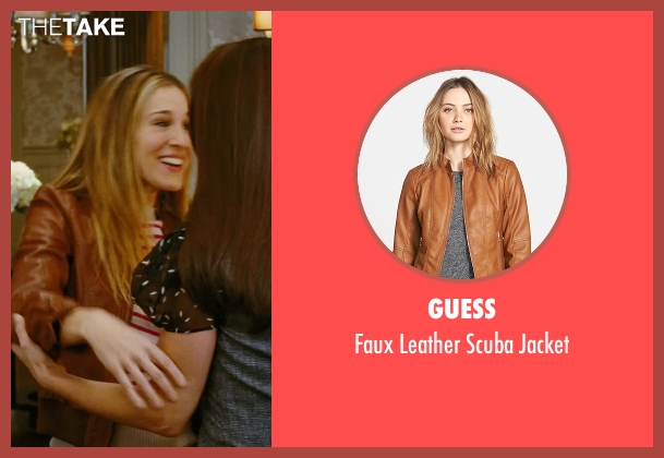 Guess brown jacket from Sex and the City seen with Sarah Jessica Parker (Carrie Bradshaw)