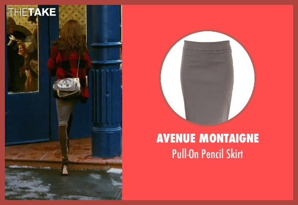 Avenue Montaigne gray skirt from Sex and the City seen with Sarah Jessica Parker (Carrie Bradshaw)