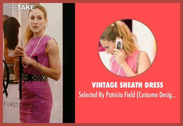 Vintage Sheath Dress pink field from Sex and the City seen with Sarah Jessica Parker (Carrie Bradshaw)