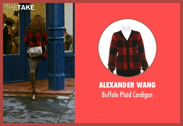 Alexander Wang red cardigan from Sex and the City seen with Sarah Jessica Parker (Carrie Bradshaw)