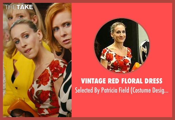 Vintage Red Floral Dress red field from Sex and the City seen with Sarah Jessica Parker (Carrie Bradshaw)