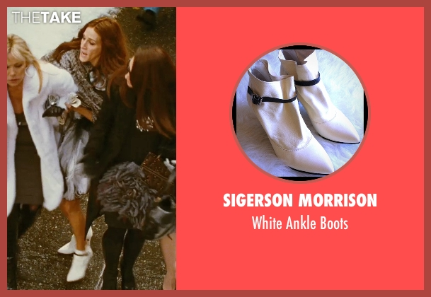 Sigerson Morrison white boots from Sex and the City seen with Sarah Jessica Parker (Carrie Bradshaw)