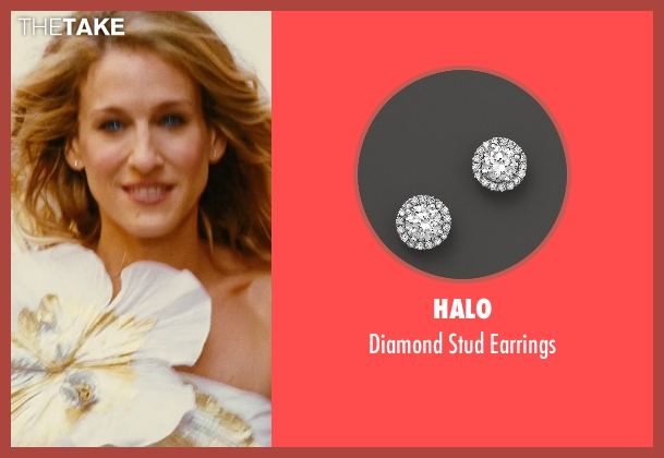 Halo white earrings from Sex and the City seen with Sarah Jessica Parker (Carrie Bradshaw)